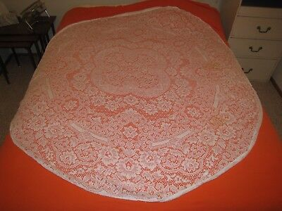 VINTAGE LACE Tablecloth 68 Inch Round Shabby Chic Farmhouse Repair Cutter  Flaws   $12.99 | PicClick