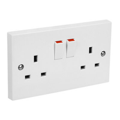 PIFCO White Double 2 Gang Plug Electric Wall Socket Switched Square Edge 13 Amp