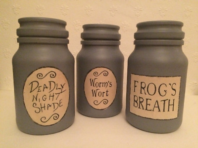 Nightmare Before Christmas Potion Jars, Sally, Jack Skellington, Halloween