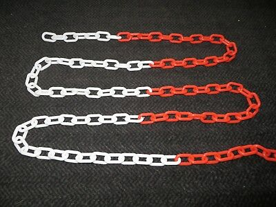 Plastic Barrier Chain Link 6mm 10m Metre Driveway Red White Security 10 15 20 30