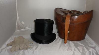 Antique Silk Plush Top Hat With Harrods Suede Gloves And Leather Hat Box
