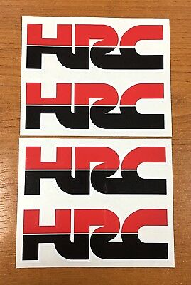 HONDA HRC Logo Stickers/Decals 4 x 110mm - Red & Black - Printed and Laminated