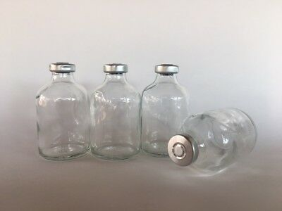 (5) Sealed Sterile 50mL Glass Vials CENTER TEAR-OFF