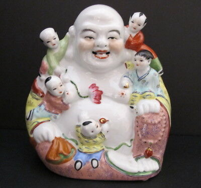 Antique Chinese Republic Period Famille Rose Buddha with 5 Children Statue 8""