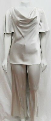 St John Knits Couture 06 04 Small 2pc Set Liquid Satin Silver Pants Cowl Top