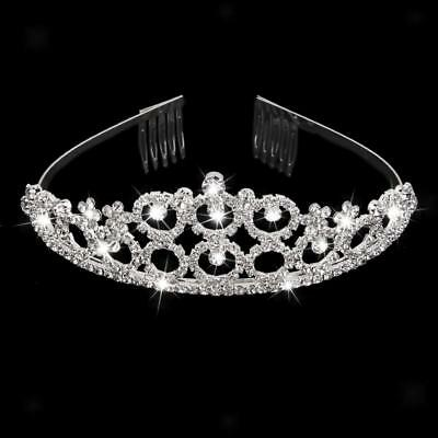 Wedding Bridal Silver Crystal Rhinestone Princess Tiara Crown Hair Comb