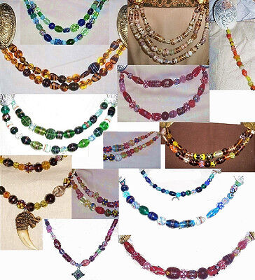 One Strand Norse SCA Garb Viking Cascade Necklace Lg Beads Lampwork COLOR CHOICE