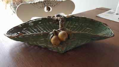 Antique Small Woven Flower Gathering Basket Clay Cherries Handle Green RARE Find