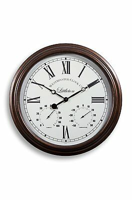 Outdoor Garden Wall Clock Thermometer Humidity Meter 38cm rust colour