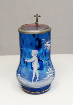 Antique Cobalt Blue Mary Gregory Lidded Glass Beer Stein Tankard ~ Free Shipping