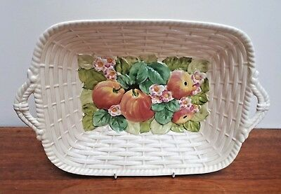 Royal Winton Embossed Apples & Blossom Wicker Basket Centrepiece Bowl 1930's