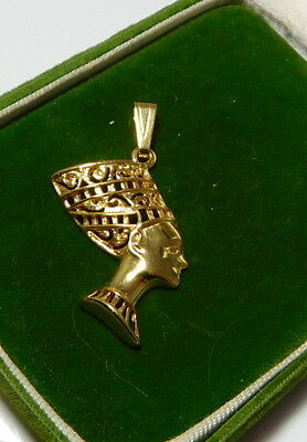 Cute Vintage Gold tone Filigree Egyptian QUEEN NEFERTITI Gold tone Pendant