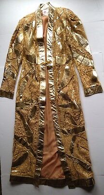 Vtg 70s 80s Long Jacket Gold Metallic Sequin Coat Lace Disco Duster Shiny