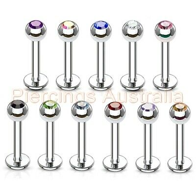 316L Surgical Steel Gem Labret Lip Bar Ring Stud Monroe Body Piercing Jewellery