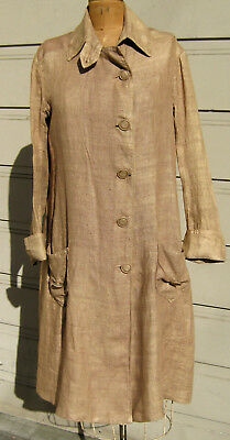 Original Antique Victorian Women's Linen Duster Coat LARGE Size Vintage Cowgirl