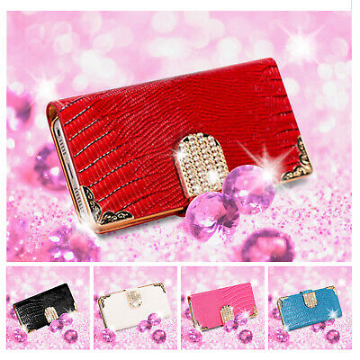 Luxury Crystal Bling Flip Leather Wallet Card Case Cover For iPhone 8 Plus/7