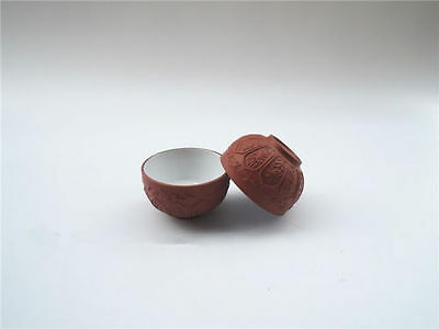 2 Pcs Chinese Hand Crafted lotus flower Yixing Zisha Gongfu Tea cups Red Color