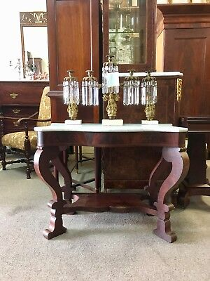 American Classical Empire Flame Mahogany Pier Table attributed to Meeks