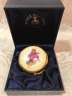 Porcelain Trinket Pill Box -Mouse - England Royale Stratford- Hand Painted