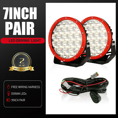 98000W Pair 7inch LED Cree Driving Lights Round Work Spotlights Offroad 4x4 ATV