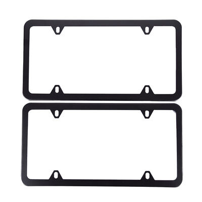 Thin-edged License Plate Frame Cover For American Standard Auto Car Truck Black
