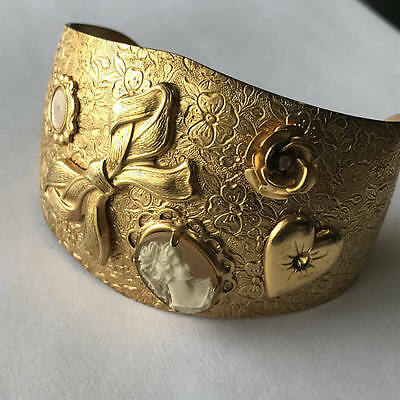 Wide Victorian Revival Gold Plated Embossed Applied Heart Cameo Cuff Bracelet