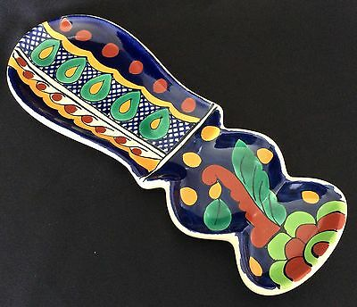 """GARAY POTTERY Handcrafted Spoon Rest 10""""  MEXICO ~ Lead Free"""