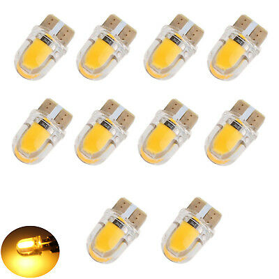 10x Amber T10 W5W 168 COB Silica Gel LED Bulbs License Plate Dash Light Yellow