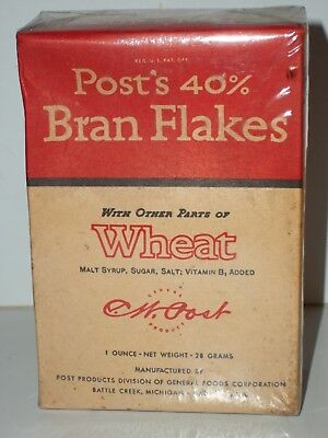 1938 FULL Sample Size POST'S 40% BRAN FLAKES CEREAL Unopened Box General Foods