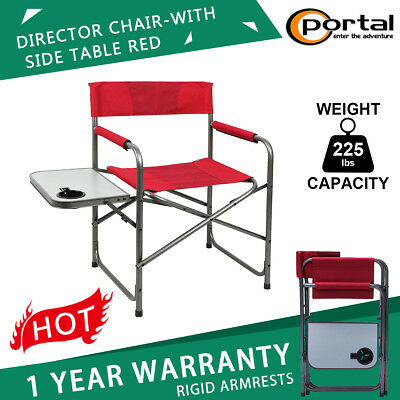 Folding Camping Directors Chair With Side Table Outdoor Beach Garden 225 Lbs Red