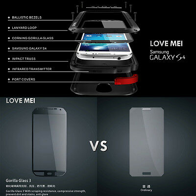 LOVE MEI Water/Shockproof Dual Aluminum Metal Case+Tempered Glass Cover Black #c