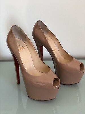 8dd4fa3efd6 CHRISTIAN LOUBOUTIN HIGHNESS 160 Nude Patent Pumps Heels 38.5 ...