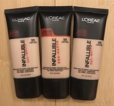 L'Oreal Infallible Pro-Matte #101 Classic Ivory - Lot of 3