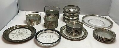39 Vintage Sterling Silver 925 & Glass / Crystal - Coasters W/ Many Sets Lot