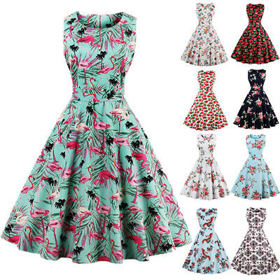 Womens Plus Size 1950s 60s Vintage Floral Rockabilly Cocktail Party Swing Dress