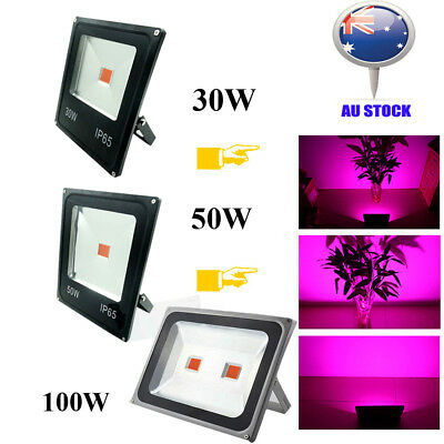 LED Grow Light 30W/50W/100W bulb Houseplant plant growth lamp IP65 Black kit AU