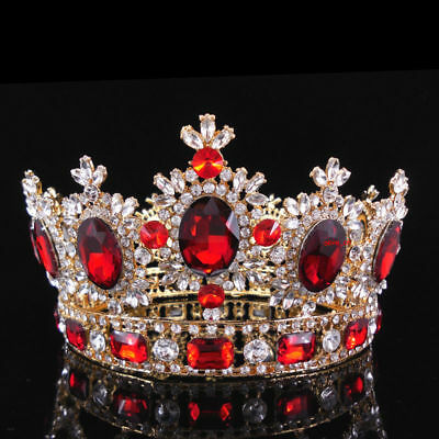 Large Ruby Red Crystal Gold King Bridal Crown Wedding Prom Party Pageant Tiara