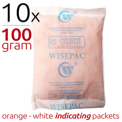 10 x 100 gram Indicating Silica Gel Packets Moisture Absorber Desiccant
