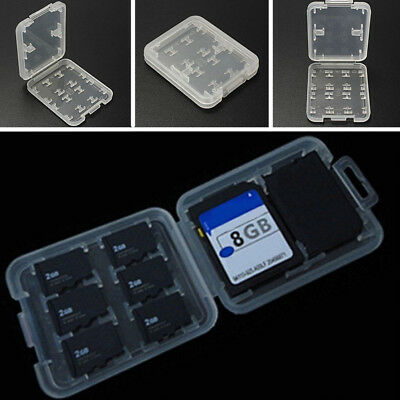 Micro SD TF MSPD White Memory Card Protector Box Storage Case Holder 8Card Slots