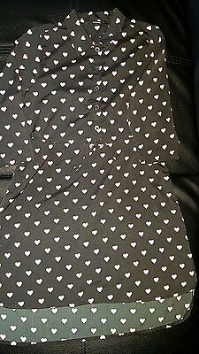 GEORGE UK Girls size 7 - 8 IMMACULATE BLACK PARTY DRESS WITH HOT PINK HEARTS