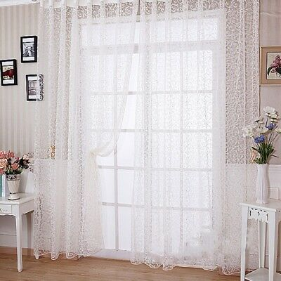 Flocked Floral Lace Tulle Voile Window Door Curtain Drape Panel Sheer Divider