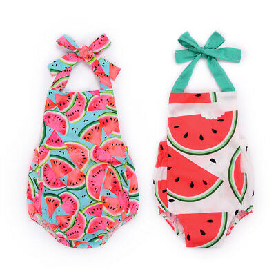 2018 Newborn Baby Girl Sleeveless Watermelon Print Strap Rompers Jumpsuit Outfit