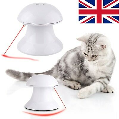 Auto Rotating Light Pet Cat Kitty Interactive Toy 360°Rotation Laser Light  White