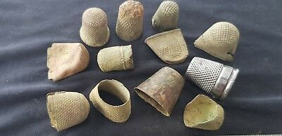 Nice lot of Medieval to Vintage thimbles as pictured some damaged some ok L83x