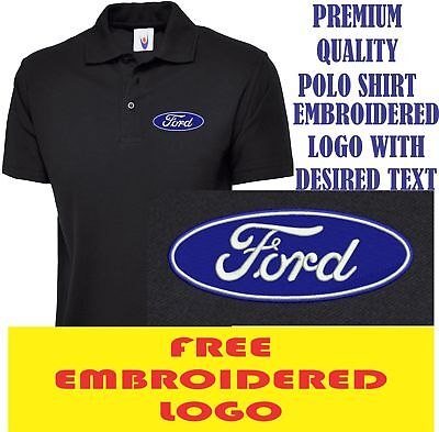Embroidered Ford Mustang Logo Polo Shirt, Workwear Uniform Ford Mustang Top