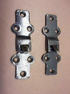 Vtg Lot of 2 Latches 2 Piece per Set Hook & Insert Type Black Finish Nice Pair!