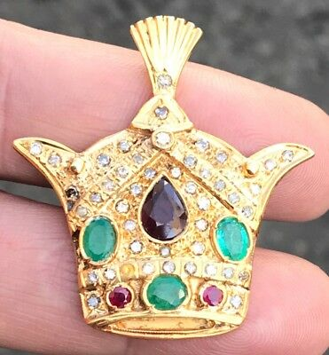 Antique 18ct Gold Islamic Persian Mohamad Reza Shah Crown Emerald Diamond Ruby &