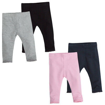 Baby Girls Leggings Frill Cotton Blend Multipack Set Bottoms Trousers Plain