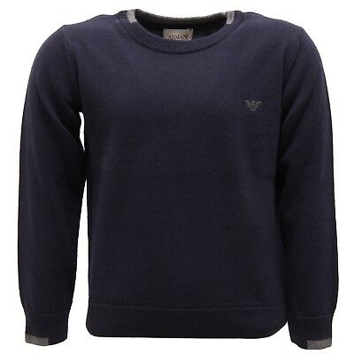2746V maglione bimbo ARMANI JUNIOR lana blue wool sweater boy kid
