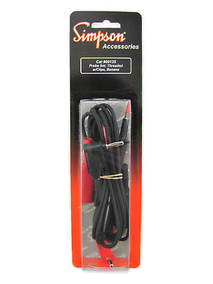 Threaded Probe Leads w/Banana Plugs & Screw-On Alligator Clips - Simpson 00125